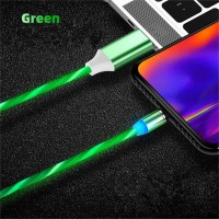 Data Line LED Magnetic Micro USB Cable Android Type-C IOS Fast Charging Cable for Mobile Phone green_Type C interface