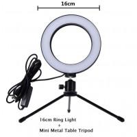 16/26cm Dimmable LED Studio Camera Ring Light Phone Video Light Lamp Selfie Stick Ring Table Fill Light 16CM single lamp + tripod