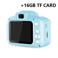 Children Mini Digital Camera Kids Educational Toys with 16GB Memory Card as Children Baby Gift blue