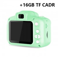 Children Mini Digital Camera Kids Educational Toys with 16GB Memory Card as Children Baby Gift green