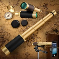 25x50 Portable Retro Collapsible Monocular Coated Optic Telescope Travel Hiking Camping Fishing Black gold