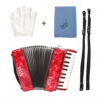 22-Keys 8 Bass Accordion Musical Instrument Rhythm Band for Beginner Children red