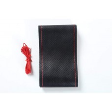 Hand Sewing Steering Wheel Cover Automotive Leather Steering Wheel Cover Handlebar Grip Car Steering Covers Black leather red line_40cm